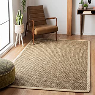 Safavieh Natural Fiber Collection NF114J Basketweave Natural and Ivory Summer Seagrass Area Rug (9' x 12')