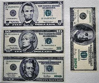 Edible Wafer Dollar Bills $100 $20 $10 $5 Real Size ~ BUY TWO GET THIRD FREE!