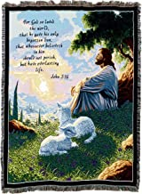 Pure Country Weavers | John 3:16 Jesus with Lamb Inspirational Green Pastures Woven Tapestry Throw Blanket with Fringe Cotton USA 72x54
