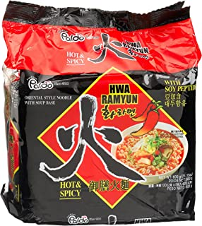 Paldo Hwa Ramyun - with Soy Peptide, Hot & Spicy Noodles,  120 g  Pouches, 5 count,  (Pack of 4)