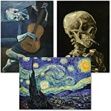 3 Pack: Vincent Van Gogh Skeleton + Starry Night + The Old Guitarist by Pablo Picasso Poster Set - Set of 3 Fine Art Print...