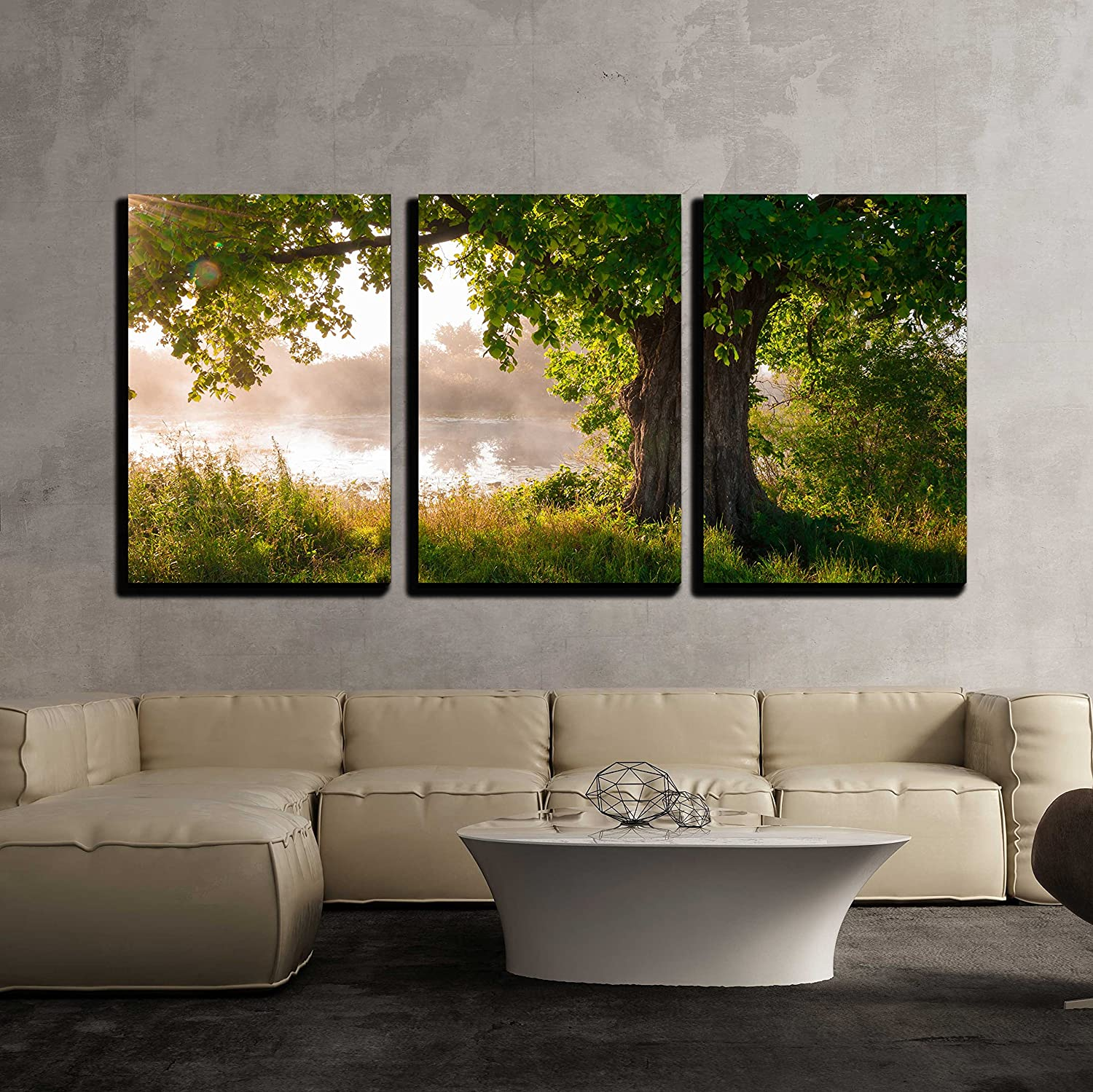 Wall26 - 3 Piece Canvas Wall Art - Oak Tree in Full Leaf in Summer Standing Alone - Modern Home Decor Stretched and Framed Ready to Hang - 24 x36 x3 Panels