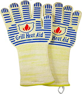 Extreme Heat BBQ Gloves for Baking, Grilling, and Oven Use – Protection Up to 932°F, Blue, 14 Inches Longer Cuff