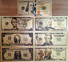 DocBrother - Lots 7pcs/Set Golden foil Dollar Banknote $100/50/20/10/5/2/1 Commemorative Collections (US Dollars 7-Piece Set)