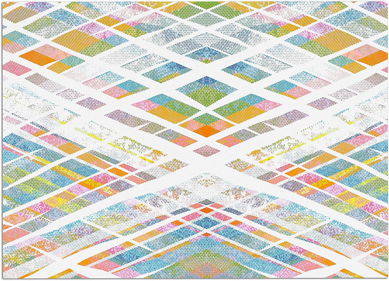 KESS InHouse FH1076ADM02 Frederic LevyHadida Losanges 2  Pastel bluee Digital Dog Place Mat, 24  x 15