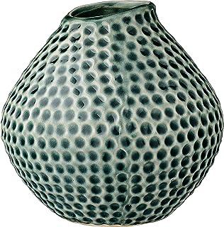 Bloomingville Teal Polka Dot Stoneware Vase