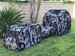 G3ELITE Kids Camo Play Tent, Childs 3 Piece Vehicle Pop Up Indoor/Outdoor Foldable Camouflage Tunnel Playhouse Gift Set with Carry/Storage Bag - (Grey, Black & White Digital Camo) + 1 Year Warranty