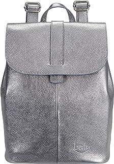 Batu Bag Rucksack | Zaino Damen-Daypack aus echt Leder | City-Backpack für Frauen | Schulrucksack für Mädchen und Teenager | Umhänge-Tasche handmade in Italien | Silber-Anthrazit