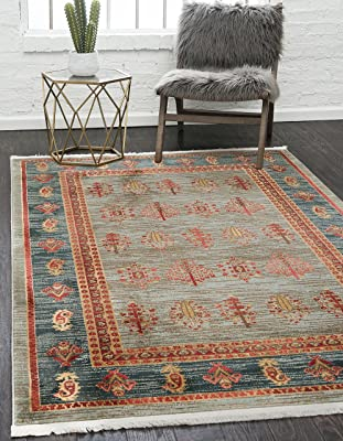 Unique Loom Fars Collection Tribal Modern Casual Light Blue Area Rug (5' x 8')