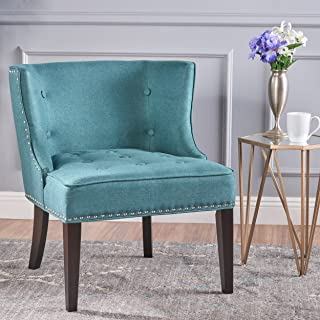 Christopher Knight Home Aria Occasional Chair Wing Back Nail Head Accents Button Tufted Corded Fabric in Dark Teal