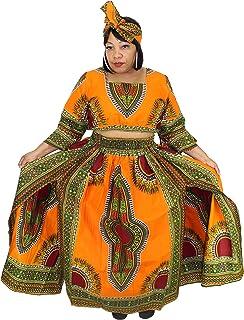 f6ef45efff6cf African Planet Women s 3 PC set Crop Top High Slit Elastic Waist Skirt  headwrap