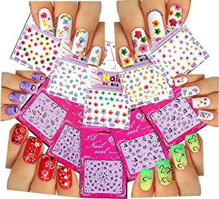 La Demoiselle Cute & Adorable Nail Art 3D Stickers ♥ with Rhinestones Hearts/Flowers Collection of 10 Decals/EEX-I/