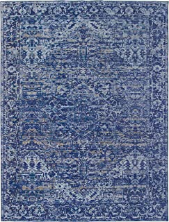 ReaLife Machine Washable Rug - Stain Resistant, Non-Shed - Eco-Friendly, Non-Slip, Family & Pet Friendly - Made from Premium Recycled Fibers - Vintage Distressed Traditional - Blue, 3'x5'