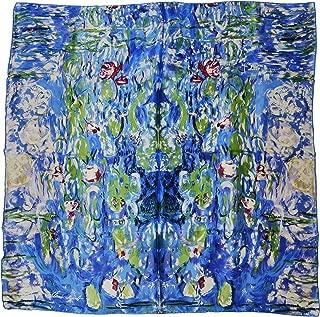 YSSP, Van Gogh and Claude Monets Paintings, Square Elegant Luxury Fashion 100 Silk Scarf Art