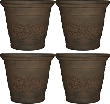 Sunnydaze Arabella Flower Pot Planter, Outdoor/Indoor Extra-Durable Double-Walled Polyresin with Fade-Resistant Sable Finish, Set of 4, Large 20-Inch Diameter