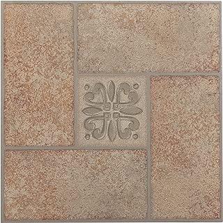 Achim Home Furnishings FTVMA42120 Nexus 12-Inch Vinyl Tile, Marble Beige Terracotta Motif Center, 20-Pack