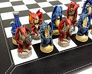 WW / HPL Medieval Dragon Gothic Fantasy Red & Blue Chess Set W/ 18