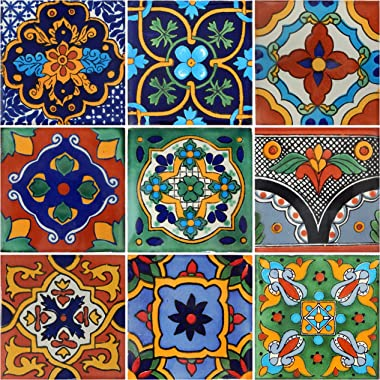 "Color y Tradicion 9 Mexican Tiles 4"" x 4"" Hand Painted Talavera F- 40"