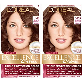 L'Oreal Paris Excellence Creme Permanent Hair Color, 5RB Medium Reddish Brown, Pack of 2
