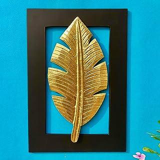 Maple Craft Wood Brass Wall Art-Brass Leaf Woodfor Home Decor/Living Room/Bed Room (Leaf - 16)