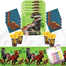 Jurassic World Party Supplies Pack Serves 16: Dessert Plates Beverage Napkins Cups and Table Cover with Birthday Candles