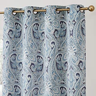 HLC.ME Paris Paisley Decorative Print Damask Pattern Thermal Insulated Blackout Energy Savings Room Darkening Soundproof Grommet Window Curtain Panels for Bedroom - Set of 2 (50 W x 63 L Long, Blue)