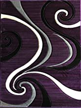 Contempo Modern Area Rug Swirl Purple 400,000 Point Carpet King Design 344 (5 feet 2 inches X7 feet 3 inches)