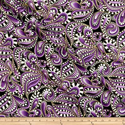Royal Purple Paisley Cat Cat-i-tude Fabric  with Metallic Gold Trim BTY