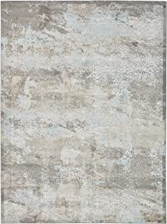 Rivet Distressed Medallion Area Rug, 8 x 11 Foot, Steel