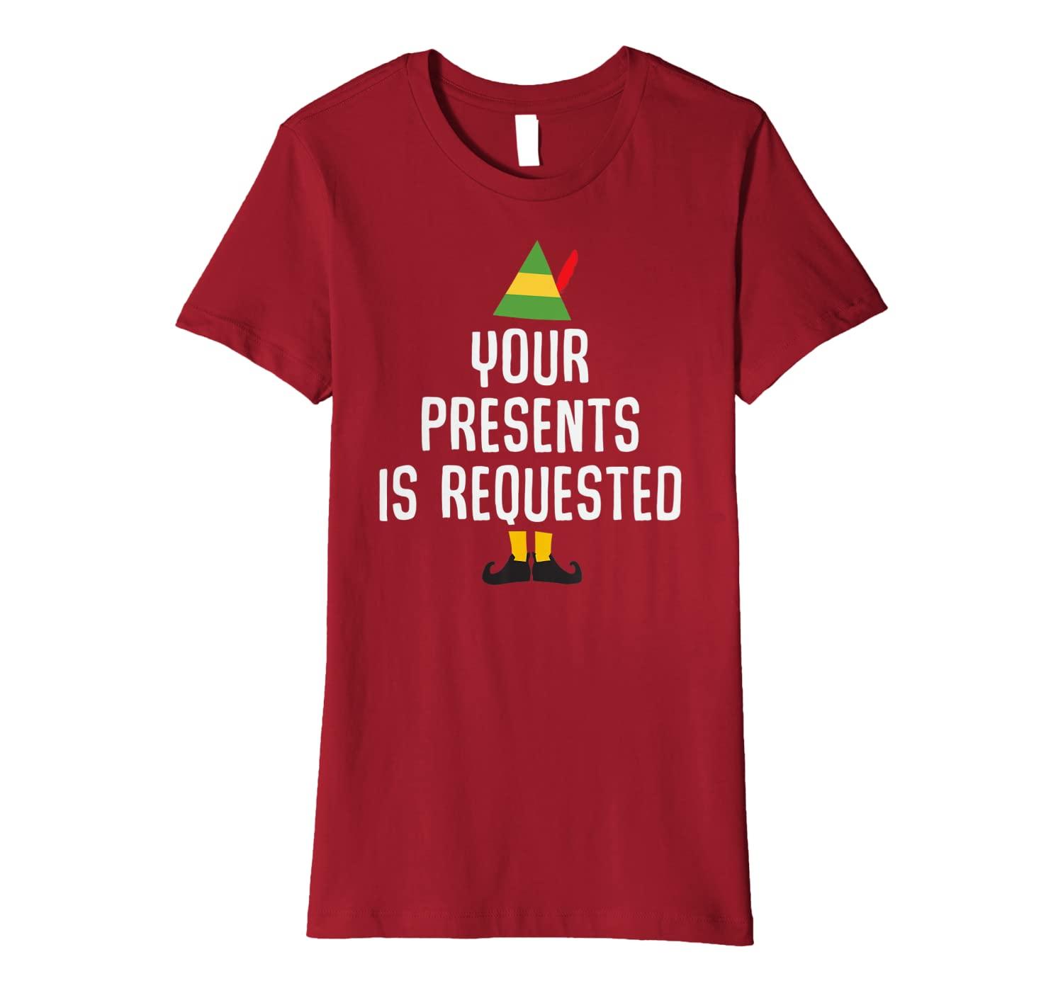 Your Presents is Requested Funny Christmas Pun Gift Premium T-Shirt