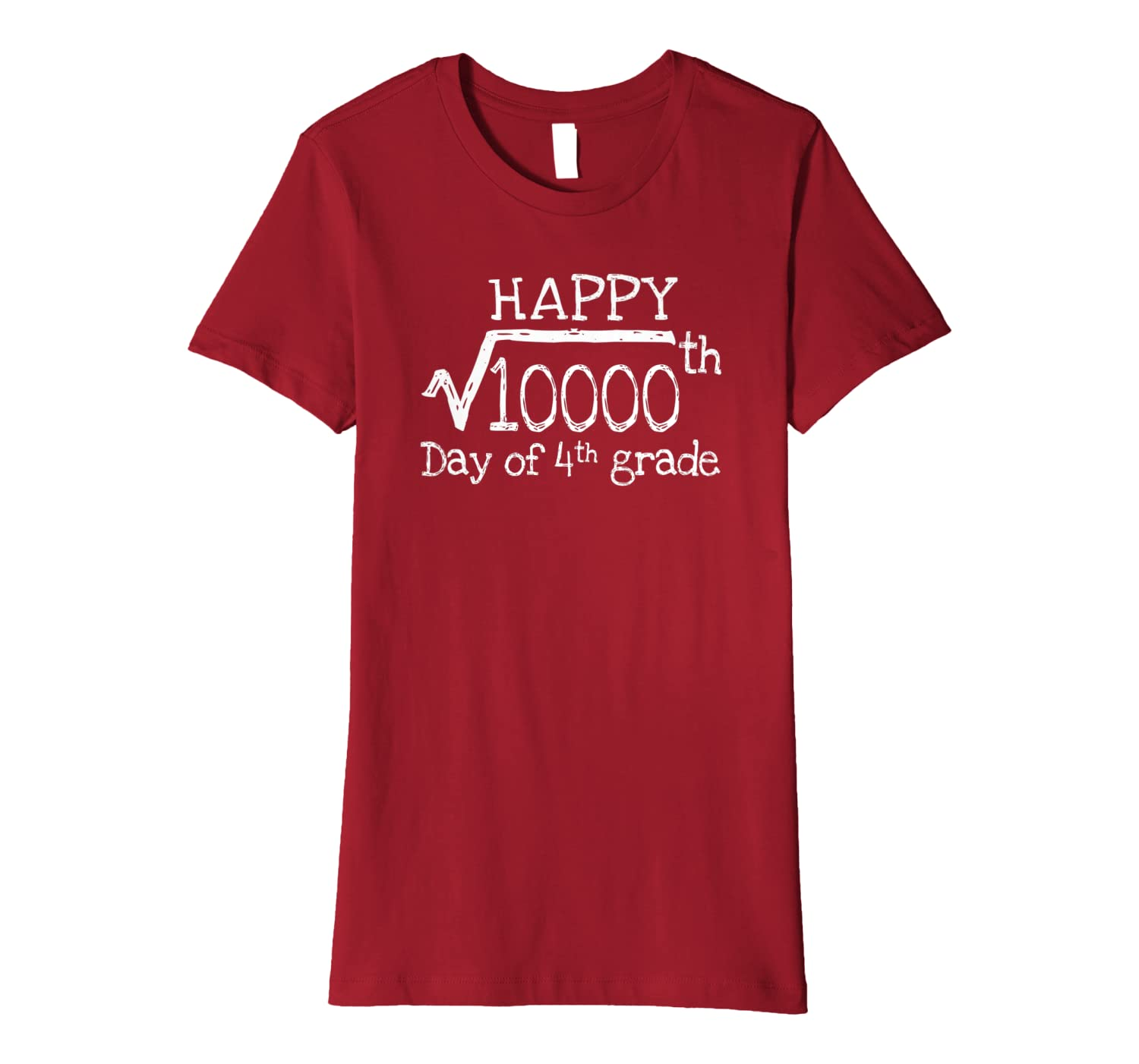 100th Day Of 4th grade Square Root of 10000 Math Teachers Premium T-Shirt