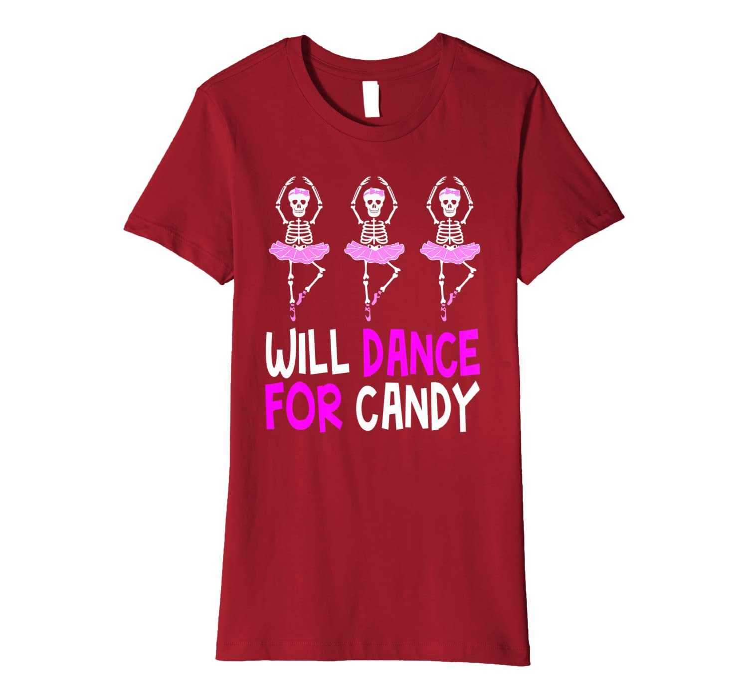 Will Dance for Candy Dancing Skeleton Halloween Squad Girls Premium T-Shirt