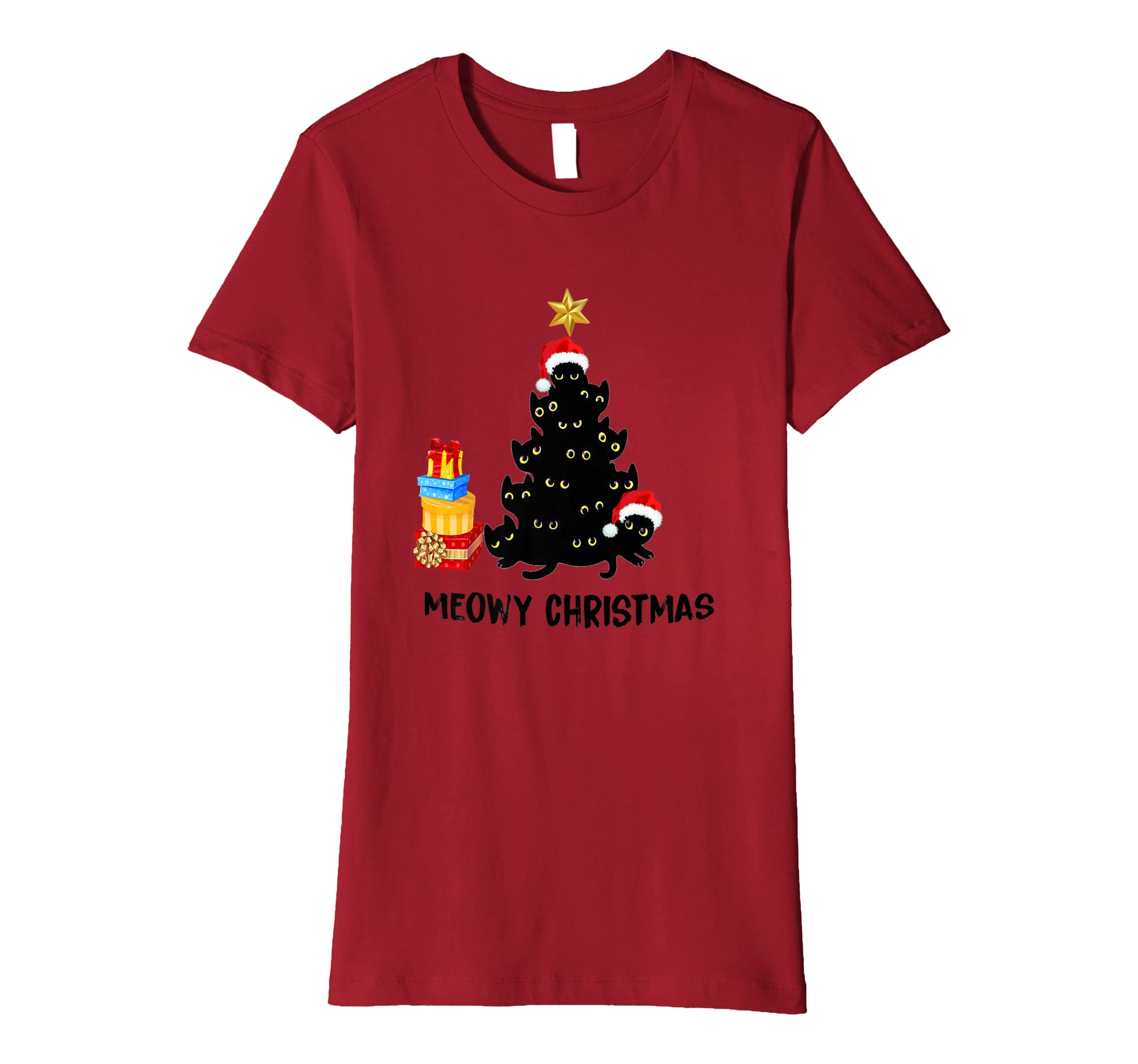 b75ae018a Meowy christmas funny tree cat kitten lover T-shirt: Amazon.co.uk: Clothing