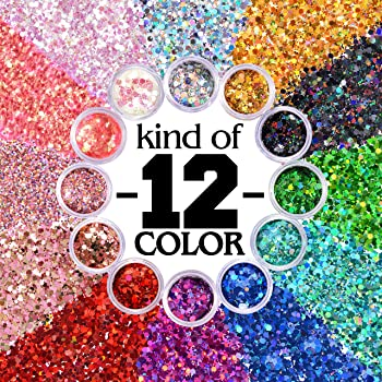 Warmfits Holographic Chunky Glitter 12 Colors Total 120g Face Body Eye Hair Nail Festival Chunky Holographic Glitter ...