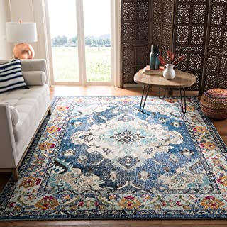 Safavieh Monaco Collection MNC243N Bohemian Chic Medallion Distressed Area Rug, 8' x 10', Navy/Light Blue