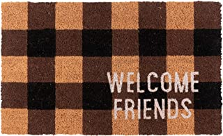 KAF Home Coir Doormat with Heavy-Duty, Weather Resistant, Non-Slip PVC Backing   17 by 30 Inches, 0.6 Inch Pile Height   Perfect for Indoor and Outdoor Use (Welcome Friends)