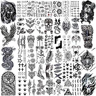 VANTATY 50 ورق خال کوبی موقت مشکی برای بزرگسالان عقاب اژدها شیر گرگ حیوانات ، خال کوبی های کوچک موقت جعلی برای زنان گردن بازو ران ، برچسب خال کوبی جمجمه برای کودکان و نوجوانان کودکان پسر دختران Tatoos