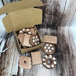 Scatolina con 5 tart al cappuccino e cacao per bruciaessenze o profumatori in cera di soia e olio essenziale piccoli bisco...