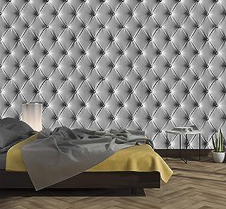 murimage Papel Pintado Cuero Gris 274 x 254 cm Incluye Pegamento Fotomurales imitación de piel lujo óptica 3D diamantes br...