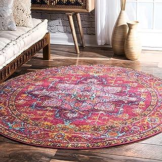 nuLOOM Vonda Fancy Persian Rug, 4` Round, Pink, 0