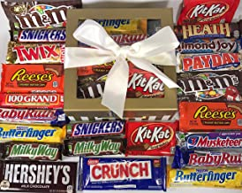 Candy Bar Bliss Gift Box Basket Prime for Chocolate Lovers Sweet Happy Birthday Valentine's Easter Christmas Thank You Office Business College Student Care Package Men Women Approx 3 Lbs 22 Count
