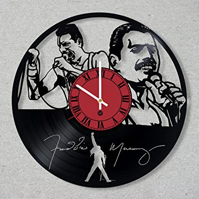 Vinyl Record Wall Clock Freddie Mercury Queen Rock Band Music Legend decor unique gift ideas for