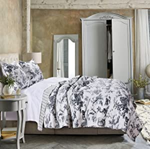 Greenland Home Classic Toile Quilt Set, Twin, Black