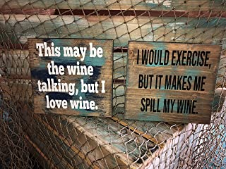 Wine Sign Vintage Wood Sign Rustic Wooden Signs Wood Block Plaque Wall Decor Art Farmhouse Home Decoration Gift - 18x18 Inches