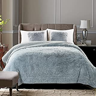 Chanasya Shaggy Longfur Faux Fur Throw Blanket - Fuzzy Lightweight Plush Sherpa Fleece Microfiber Blanket - for Couch Bed Chair Photo Props - Queen - Grey