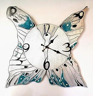 orologio a farfalla in legno dipinto a mano