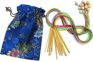 Ensemble de 12 Tailles 120cm de Long Multicolore Crochets Afghans Tunisiens en Bambou, 3mm à 10mm, dans Sac de Soie