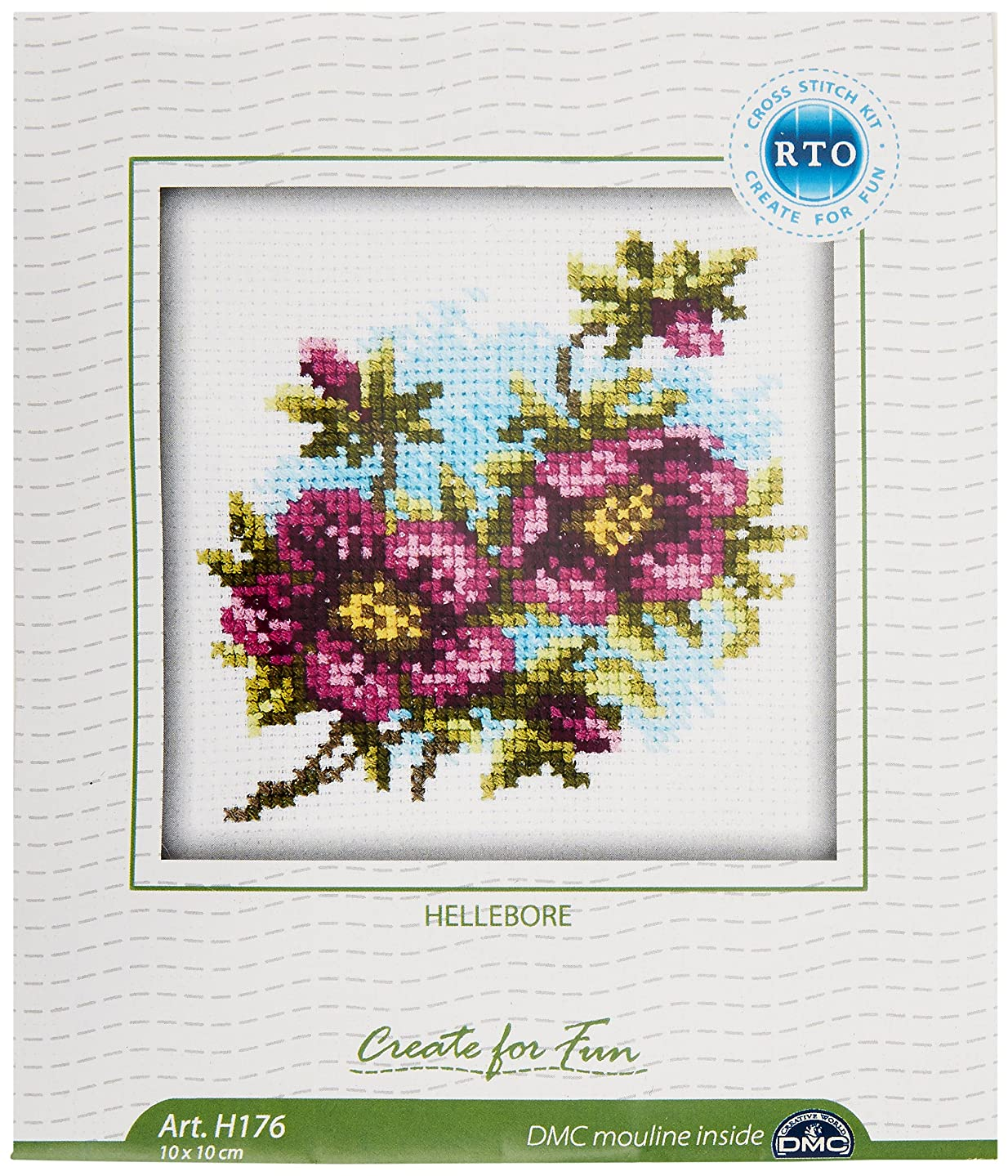 RTO H176 14 Count Counted Cross Stitch Kit, 4 by 4-Inch, Hellebore