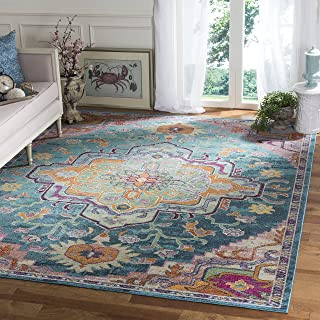 Safavieh Crystal Collection Area Rug, 4' x 6', Teal/Rose