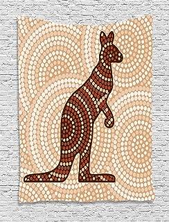 Ambesonne Tropical Animals Tapestry, Aboriginal Kangaroo Motif Cream Toned Circling Dot Design, Wall Hanging for Bedroom Living Room Dorm Decor, 40